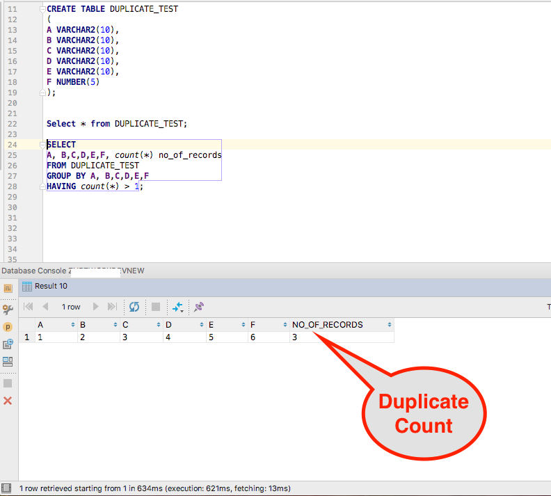 Duplicate Records Count in Oracle DB Table