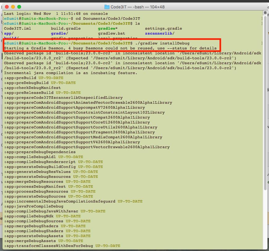 GradleW Command Lines installDebug